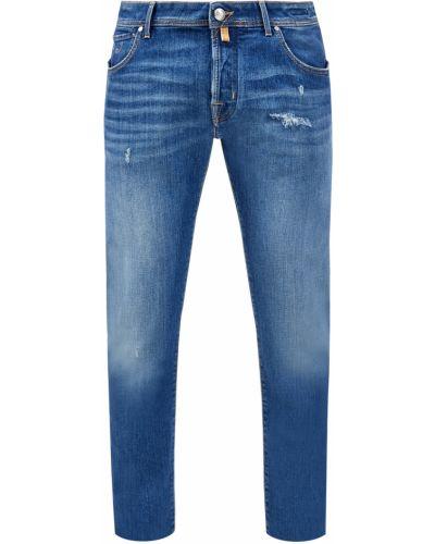 Деловые серебряные джинсы с нашивками с поясом Jacob Cohen