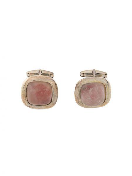 Spinki do mankietów srebrne - różowe Gianfranco Ferré Pre-owned