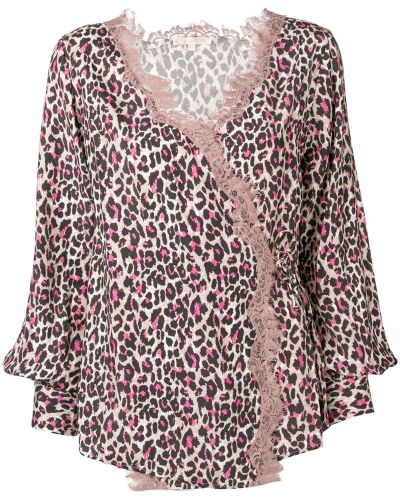 Блузка с длинным рукавом розовая с запахом Gold Hawk