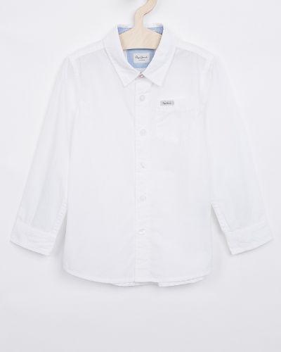 Джинсовая рубашка белая с узором Pepe Jeans