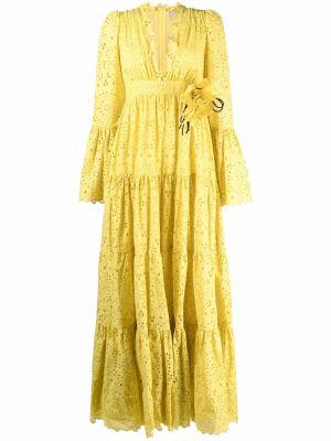 Желтое платье макси с вышивкой Elie Saab