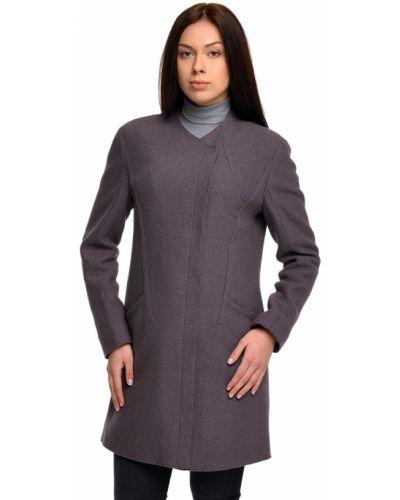 Фиолетовое шерстяное пальто с капюшоном Luisa Cerano