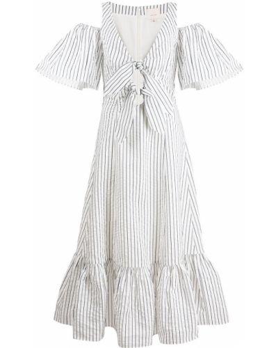 Открытое белое платье миди в полоску Cinq À Sept