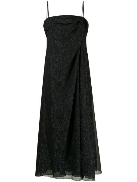 Черное платье на бретелях с вырезом Emporio Armani