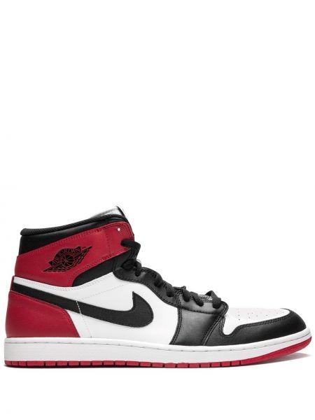 Кожаные красные высокие кроссовки винтажные Jordan