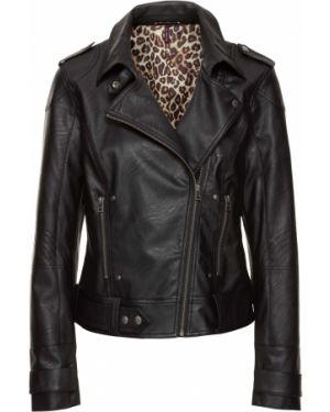 Кожаная куртка черная байкерская Bonprix