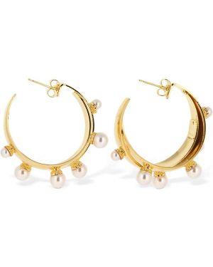 Żółte złote kolczyki sztyfty perły Ca&lou