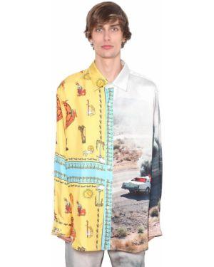 Klasyczna żółta klasyczna koszula z jedwabiu Lost Daze Ca