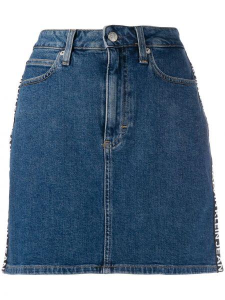 Джинсовая юбка на пуговицах синяя Calvin Klein Jeans
