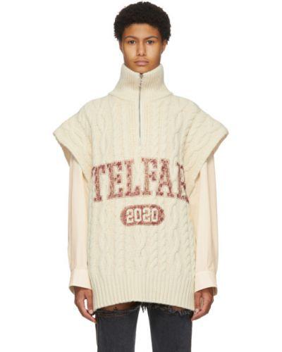 Белый кашемировый свитер с воротником с манжетами Telfar