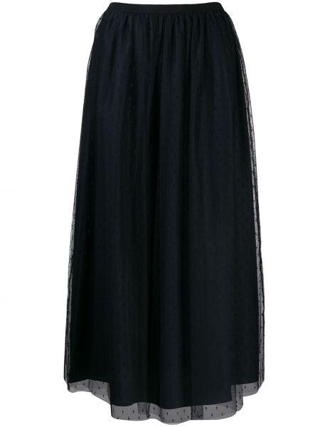 Niebieska spódnica maxi tiulowa z siateczką Red Valentino