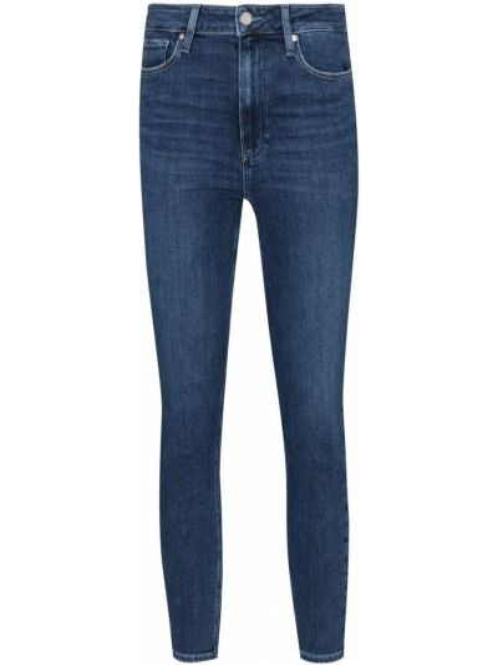 Хлопковые синие зауженные укороченные джинсы Paige