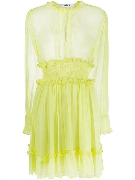 Платье с поясом с рукавами желтый Msgm