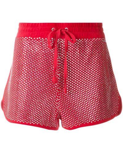 Красные велюровые спортивные шорты Juicy Couture