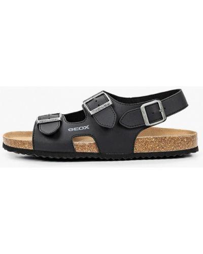 Черные кожаные сандалии Geox