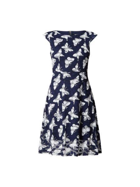 Niebieska sukienka mini rozkloszowana koronkowa Apricot