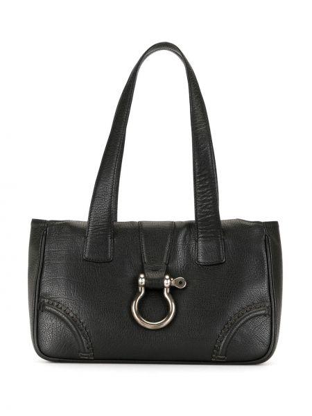 Кожаная черная сумка-тоут с пряжкой на молнии Burberry Pre-owned