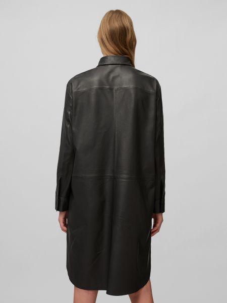 Кожаное черное платье с длинными рукавами Marc O'polo