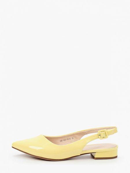 Кожаные желтые кожаные туфли с открытой пяткой Lolli L Polli
