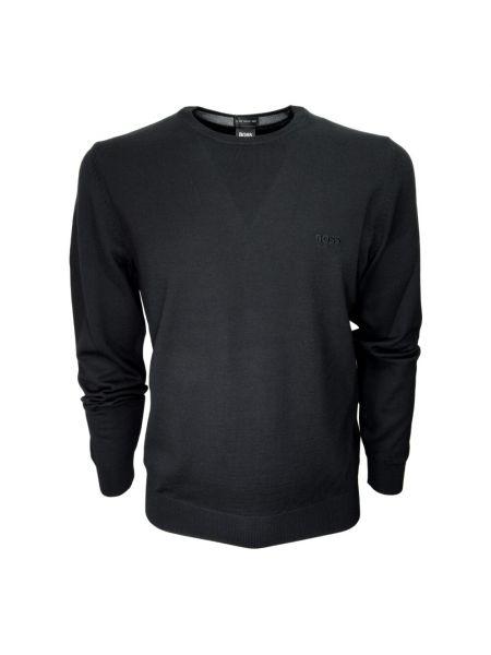 Czarny sweter wełniany z długimi rękawami Hugo Boss