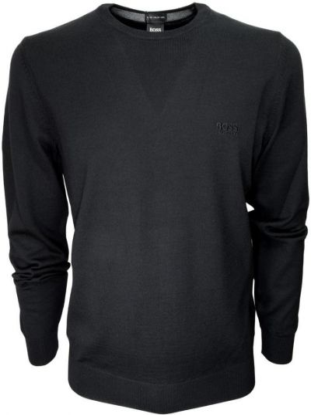 Sweter wełniany - czarny Hugo Boss
