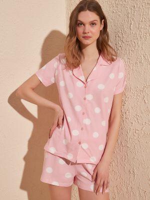 Piżama zapinane na guziki - różowa Trendyol