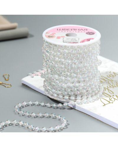 Ожерелье с жемчугом круглое прозрачное арт узор