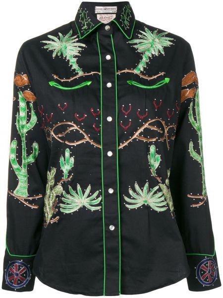 Черная классическая рубашка с воротником с вышивкой на пуговицах Jessie Western