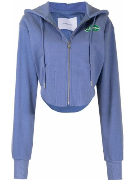 Niebieska bluza z kapturem bawełniana Pushbutton