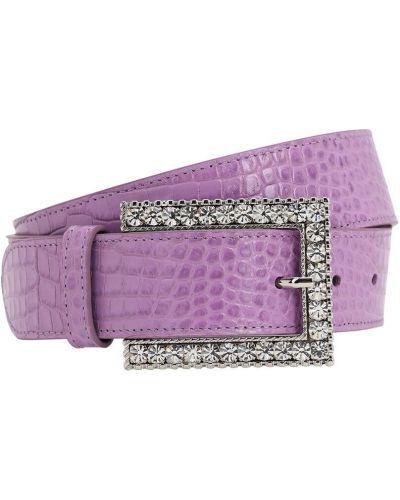 Фиолетовый ремень из крокодила с пряжкой с тиснением Alessandra Rich