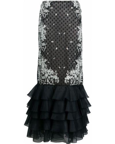 Шелковая черная с завышенной талией юбка с оборками Giambattista Valli