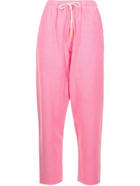 Хлопковые розовые прямые спортивные брюки Mira Mikati