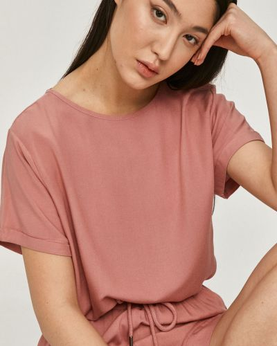 Różowa piżama krótki rękaw z wiskozy Answear Lab