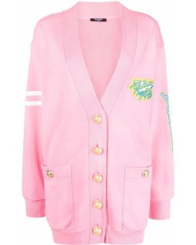 Розовое длинное пальто на пуговицах в полоску Balmain