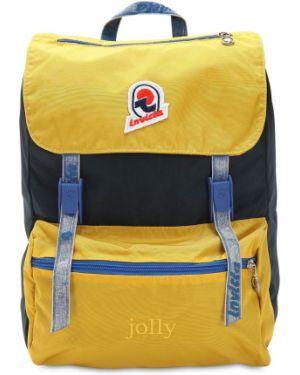 Żółty plecak z haftem z nylonu Invicta