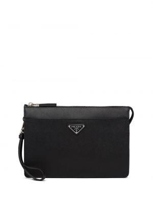 Skórzana torba czarny pod ręką Prada