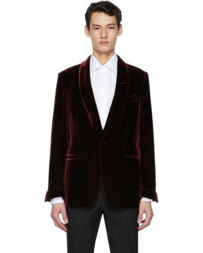 Бархатный красный удлиненный пиджак с подкладкой Tom Ford