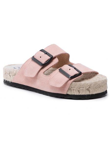 Różowe sandały espadryle Manebi