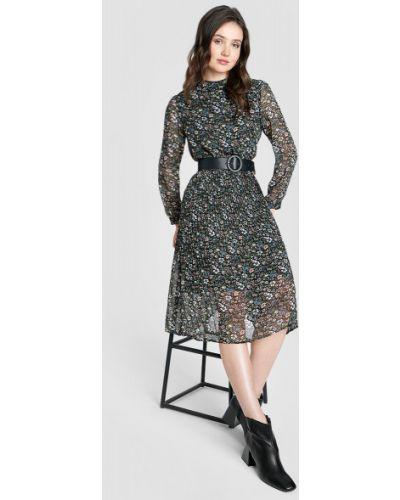 Приталенное шифоновое зеленое платье миди Ostin