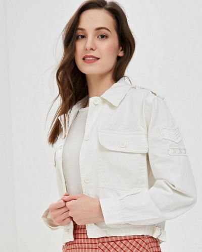 Джинсовая куртка весенняя белая Jennyfer