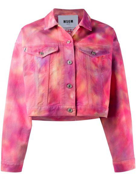 Джинсовая куртка длинная розовая Msgm