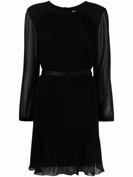 Плиссированное черное платье макси с вырезом Calvin Klein