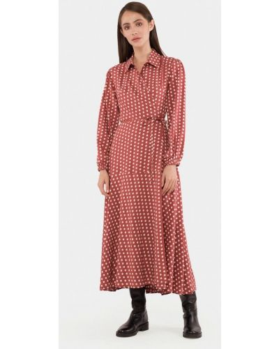 Розовое платье с запахом Mr520