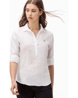 Рубашка белая льняная Lacoste