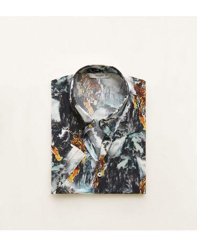 Рубашка с короткими рукавами в клетку из вискозы Mango Man