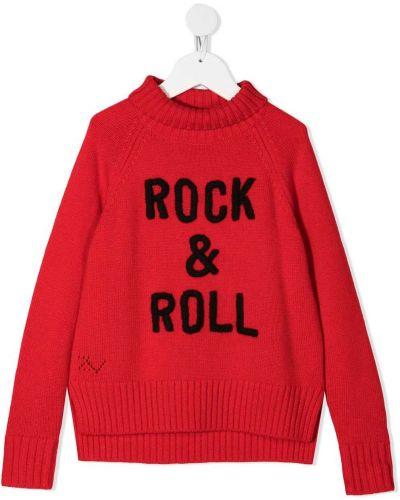 Красный шерстяной джемпер в рубчик с вырезом Zadig & Voltaire Kids