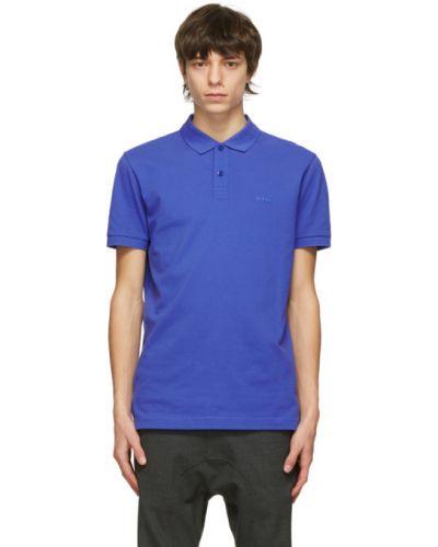 Niebieski z rękawami koszulka polo z kołnierzem Boss