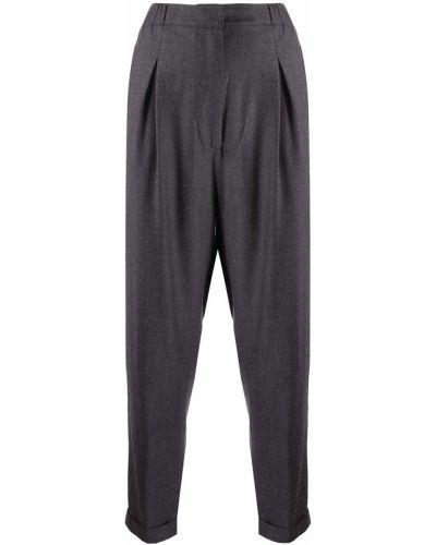 Серые плиссированные зауженные брюки с поясом с высокой посадкой Gentry Portofino