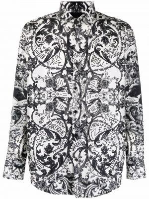 Czarna biała koszula z długimi rękawami z jedwabiu Philipp Plein