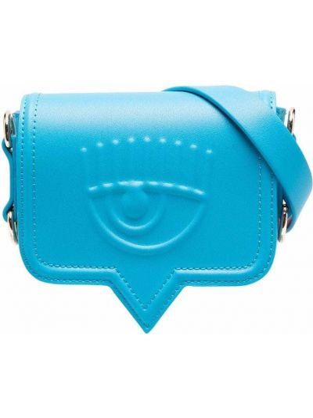 Niebieska torebka na łańcuszku skórzana z paskiem Chiara Ferragni
